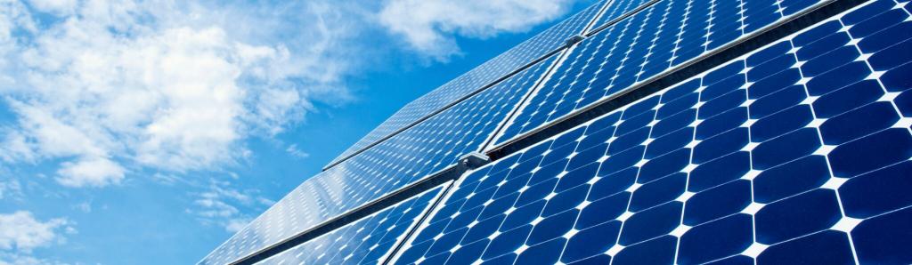 Close up on solar panels